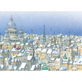 A rectangular Christmas card with a cartoon drawing of London from above with snow visible on the rooftops and a few Christmas trees visible. On the roof of one building you can see Father Christmas standing looking at the sky, with his sled next to him.