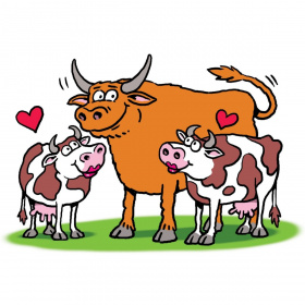 A cartoon drawing of a large brown bull with horns, with two smaller, white cows with brown spots on either side of him. The cows have pink lipstick on their lips and are looking up at the bull. There is a heart drawn above each cow.