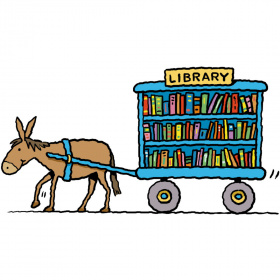 A cartoon drawing of a donkey pulling a cart with shelves full of books and a sign above them saying 'Library'.