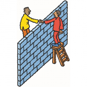 A cartoon drawing of a wall, with two men on either side standing on step ladders to shake hands over the top of the wall.