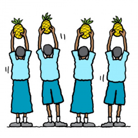 A cartoon drawing of four young people facing away with their arms raised above their heads, each holding up a pineapple.