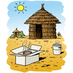 A cartoon drawing off a small hut in a dry environment, with two more huts in the background. In front of the hut are two solar cookers with steam rising from them.