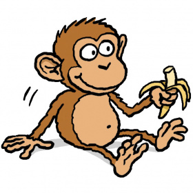 A cartoon drawing of a monkey sitting down and holding a half eaten banana in one hand.