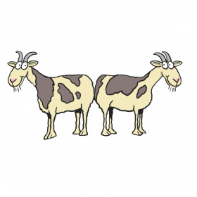 A cartoon drawing of two goats standing back to back.