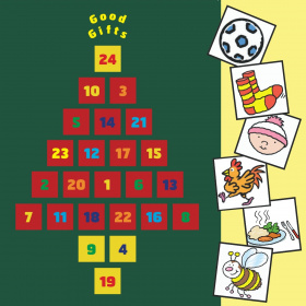 A dark green advent calendar with 24 numbered squares in the shape of a Christmas tree, at the top are the words 'Good Gifts'. On the right hand side are six squares with cartoons in them, showing from top to bottom: a football, a pair of socks, a baby we