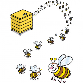 A cartoon drawing of a bee hive box with bees coming out of it.