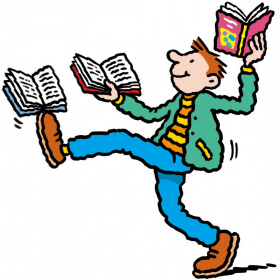 A cartoon drawing of a boy holding up an open book in each hand and balancing a third open book on one foot.