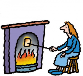 A cartoon drawing of a sad-looking woman sitting in front of a fireplace, roasting a marshmallow over the fire.
