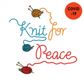 A cartoon drawing of three balls of yarn with a strand trailing out of each ball, each strand spells one word of 'Knit for Peace'. The first ball is blue, second orange and third red. In the top right hand corner there is a red circle with the word 'Covid