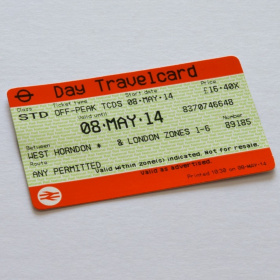 A close up picture of a National Rail Day Travelcard.