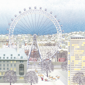 A square Christmas card with a drawing of the London skyline on it, with the London Eye near the front. It is snowing and there is snow on the roofs. At the bottom you can see Father Christmas next to his slay, watching as his reindeer run towards the Lon
