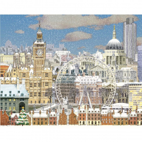 Picture 1: A section of the Christmas card showing a cartoon drawing of the London skyline in the snow. Big Ben, the London Eye and St Paul's Cathedral are all visible.