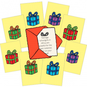 A cartoon showing 8 Little Good Gifts cards with a different coloured present on each one. In the middle is a little red envelope with the message of one of the gift cards sticking out.
