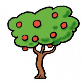 A cartoon drawing of a tree with red fruit on it.