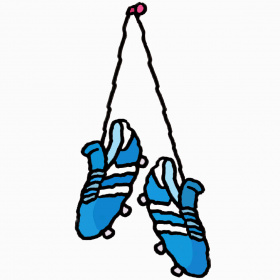A cartoon drawing of a pair of blue football boots hanging from a hook by the laces.