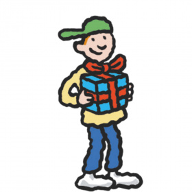 A cartoon drawing of a boy holding a present with a red bow on it.