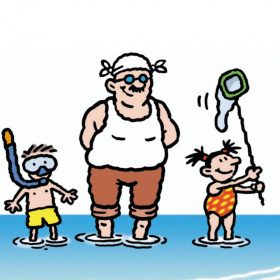 A cartoon of a dad and two children standing in water. On his left, his young son is wearing a snorkel and on his right his young daughter is holding a fishing net and smiling.