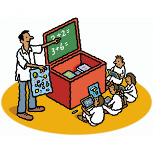 A cartoon drawing of a teacher standing next to a chalk board and pointing, with four children sat on the floor in front of him.
