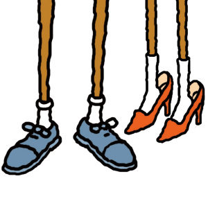 A cartoon drawing of two people's legs from the knees down, showing their feet and shoes. The feet on the left are wearing blue shoes with laces, the feet on the right are wearing red high-heels.