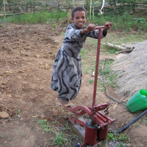 A picture of a young girl with her hands on the handle bar of a treadle pump and her feet on the pedals.