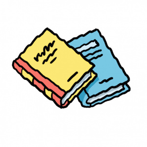 A cartoon drawing of two books, one blue and one yellow.
