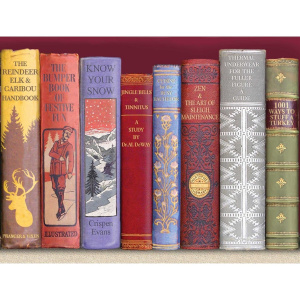 Picture 1: A rectangular Christmas card showing the spines of several old books, with titles like 'The Bumper Book of Festive Fun', 'Know Your Snow', 'Thermal Underwear for the Fuller Figure: A Guide' and '1001 Ways to Stuff a Turkey'.