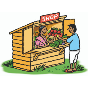 A cartoon drawing of a small wooden hut, with an open counter and a sign above it saying 'Shop'. Inside, there is a woman with lots of vegetables on display, and in front of the counter a customer is handing over some money.