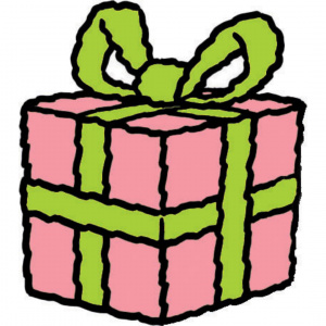 A cartoon drawing of a pink present with a green bow tied around it.
