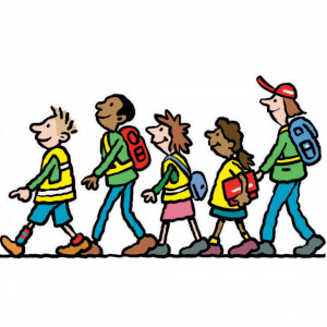 A cartoon drawing of four children walking in a line, with a teacher walking at the back of the line.