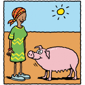 A cartoon drawing of a woman in a dry landscape looking down at a pig and smiling.