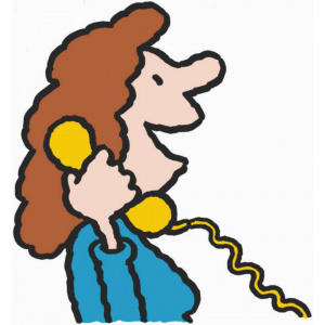 A cartoon drawing of a woman holding a yellow landline phone up to her ear, with her mouth open as if in mid conversation.