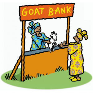 A cartoon drawing of a woman behind a stall with a sign above her saying 'Goat bank'. She is holding out a small white goat for a woman on the other side of the stall to take.