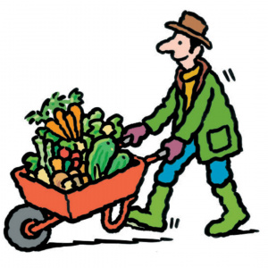 A cartoon drawing of a man pushing a red wheelbarrow piled high with vegetables.