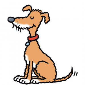 A cartoon drawing of a brown dog wearing a red collar, sitting with its eyes closed and its tail up.