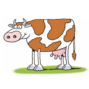 A cartoon drawing of a white cow with brown spots.