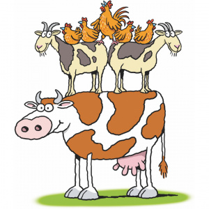 A cartoon drawing of a cow with two goats standing on its back and five chickens standing on the backs of the two goats.