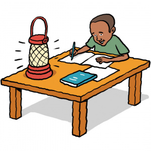 A cartoon drawing of a young boy sitting at a table writing in a note book, using the light of a portable solar lamp.