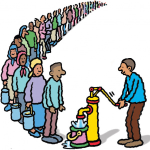 A cartoon drawing of a man moving the handle on a water pump, which is filling up a bucket with water. In front of the pump is a long queue of people waiting to receive water.