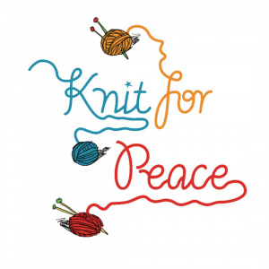 A cartoon drawing of three balls of yarn with a strand trailing out of each ball, each strand spells one word of 'Knit for Peace'. The first ball is blue, second orange and third red.