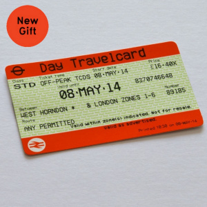 A close up picture of a National Rail Day Travelcard. In the top left corner is a red circle with 'New Gift' written in it.