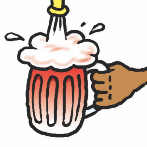 A cartoon drawing of a beer glass being held under a tap with foamy beer pouring into it.