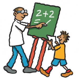 A cartoon drawing of a teacher standing at a chalkboard writing  on it, with a young boy by his side looking at a piece of paper.