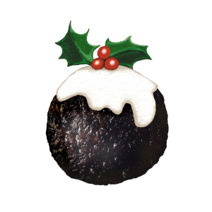 A drawing of a Christmas pudding with cream and a sprig of holly on top.