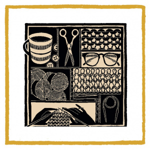 A square Christmas card with a black and white design of different drawings related to knitting: a pair of scissors, some close up stitching, some balls of yarn, a pair of hands knitting, a crochet hook.