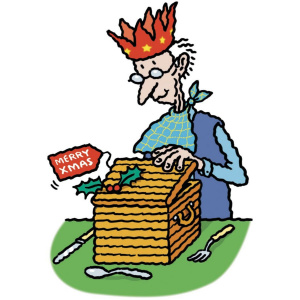 """A cartoon drawing of an elderly man wearing a paper crown opening up a hamper with a sprig of holly on it and a tag saying """"Merry Xmas""""."""