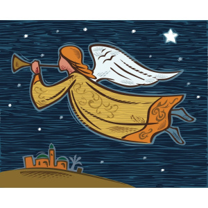 A rectangular Christmas card with a drawing of an angel in a starry night sky, blowing on a trumpet. Below, there is a town visible.