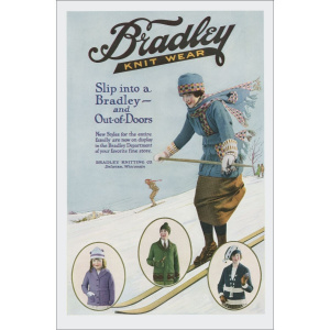A rectangular Christmas card with an old-fashioned advert for knitwear. There is a drawing of a woman skiing, wearing a blue jacket and matching scarf and hat, with the words 'Bradley Knitwear' above and in front of her the words 'Slip into a Bradley - an