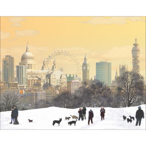 Picture 1: A section of the Christmas card showing a cartoon drawing of a park covered in snow, with a few people wrapped up warm walking their dogs. The London skyline is visible behind them, showing the BT Tower, Big Ben, the London Eye and St Paul's Ca