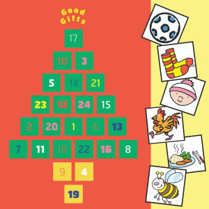 A red advent calendar with 24 numbered squares in the shape of a Christmas tree, at the top are the words 'Good Gifts'. On the right hand side are six squares with cartoons in them, showing from top to bottom: a football, a pair of socks, a baby wearing a