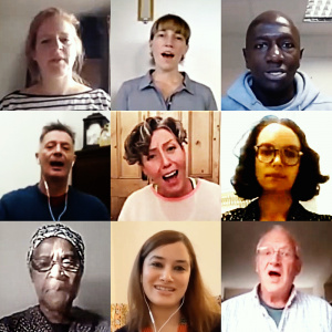 A screenshot of 9 people on a video call, their mouths are open and they are in the middle of singing.